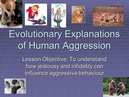 Evolutionary Explanations of Human Aggression Lesson Objective: To understand how jealousy and infidelity can influence aggressive behaviour.