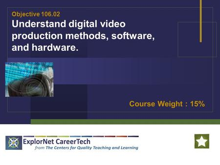 Objective 106.02 Understand digital video production methods, software, and hardware. Course Weight : 15%