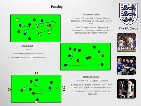 Passing Skill Practice 1.8 vs. 4 2.Blues keep possession from reds 3.Reds seek to win it and keep themselves Small Sided Game 1.2 teams of 4 + 2 targets.
