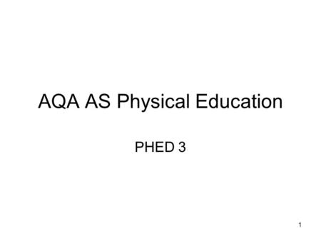 1 AQA AS Physical Education PHED 3. 2 Psychological Aspects Personality.