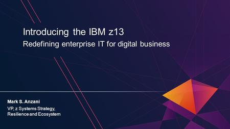 Introducing the IBM z13 Redefining enterprise IT for digital business Mark S. Anzani VP, z Systems Strategy, Resilience and Ecosystem.