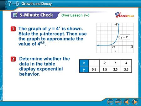Over Lesson 7–5 5-Minute Check 1 The graph of y = 4 x is shown. State the y-intercept. Then use the graph to approximate the value of 4 0.6. Determine.