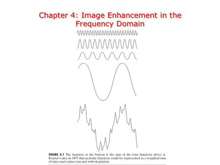 Chapter 4: Image Enhancement in the Frequency Domain Chapter 4: Image Enhancement in the Frequency Domain.