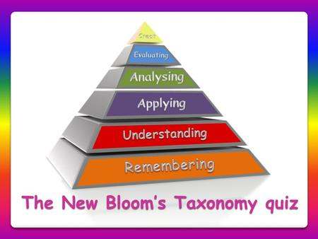 The New Bloom's Taxonomy quiz
