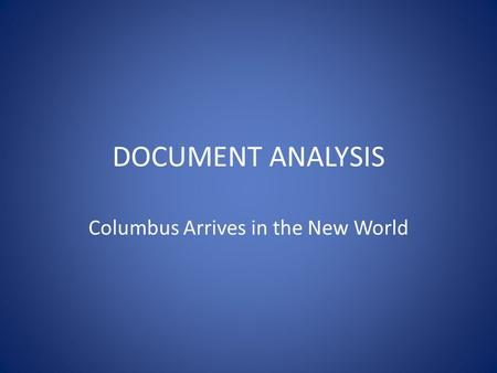 Columbus Arrives in the New World