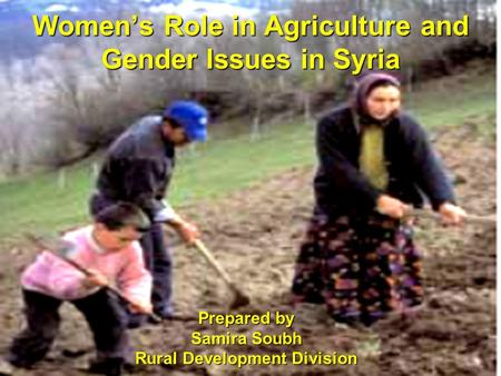 Women's Role in Agriculture and Gender Issues in Syria Prepared by Samira Soubh Rural Development Division.