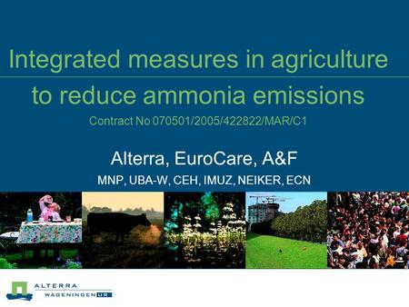 Integrated measures in agriculture to reduce ammonia emissions Contract No 070501/2005/422822/MAR/C1 Alterra, EuroCare, A&F MNP, UBA-W, CEH, IMUZ, NEIKER,