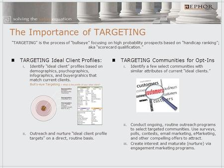 "The Importance of TARGETING TARGETING Ideal Client Profiles: i. Identify ""ideal client"" profiles based on demographics, psychographics, infographics, and."