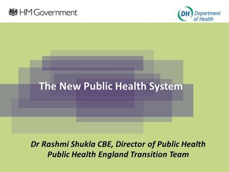 The New Public Health System Dr Rashmi Shukla CBE, Director of Public Health Public Health England Transition Team.