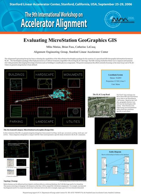 Topology Cleanup Evaluating MicroStation GeoGraphics GIS Prepared using support of U.S. Department of Energy under Contract No. DE-AC02-76SF00515 by the.