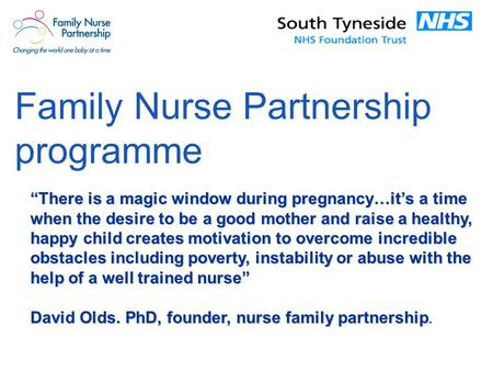 "Family Nurse Partnership programme ""There is a magic window during pregnancy…it's a time when the desire to be a good mother and raise a healthy, happy."