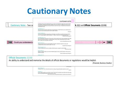 Cautionary Notes. Degree course suggestions within each top area.