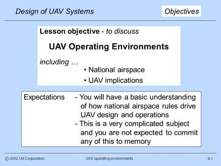 6-1 Design of UAV Systems UAV operating environmentsc 2002 LM Corporation Lesson objective - to discuss UAV Operating Environments including … National.