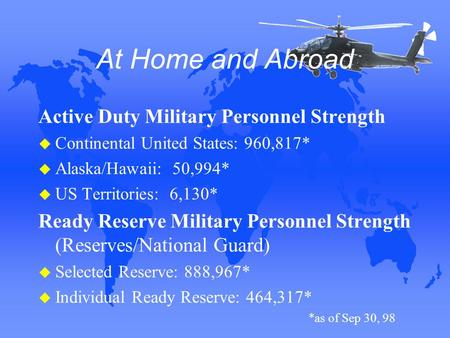 At Home and Abroad Active Duty Military Personnel Strength u Continental United States: 960,817* u Alaska/Hawaii: 50,994* u US Territories: 6,130* Ready.