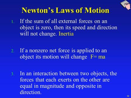 Newton's Laws of Motion 1. If the sum of all external forces on an object is zero, then its speed and direction will not change. Inertia 2. If a nonzero.