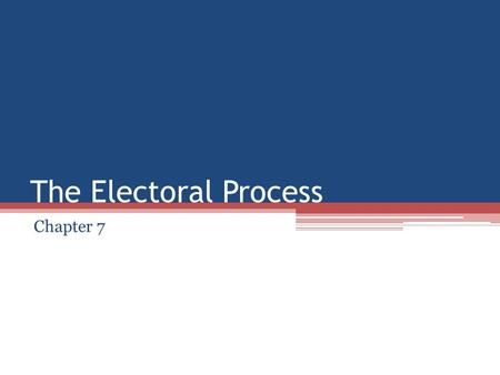 The Electoral Process Chapter 7. The Nominating Process Nomination is the first step in the process. There are 5 ways to nominate a candidate in the United.