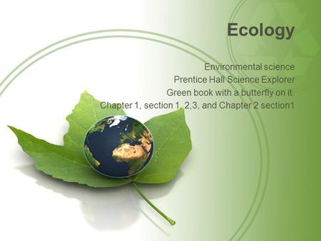 Ecology Environmental science Prentice Hall Science Explorer