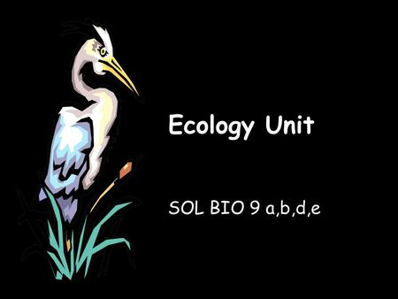 Ecology Unit SOL BIO 9 a,b,d,e. BIO SOL: 9 a,b,d,e The student will investigate and understand dynamic equilibria within populations, communities, and.
