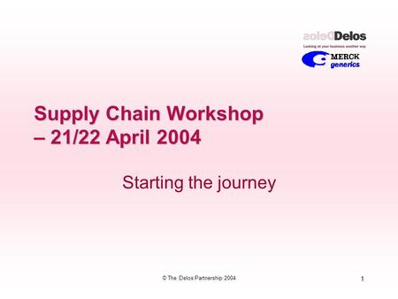 1 © The Delos Partnership 2004 Supply Chain Workshop – 21/22 April 2004 Starting the journey.