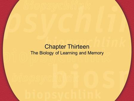 Chapter Thirteen The Biology of Learning and Memory.