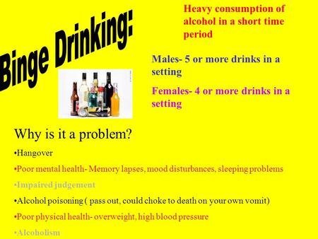 Heavy consumption of alcohol in a short time period Males- 5 or more drinks in a setting Females- 4 or more drinks in a setting Why is it a problem? Hangover.