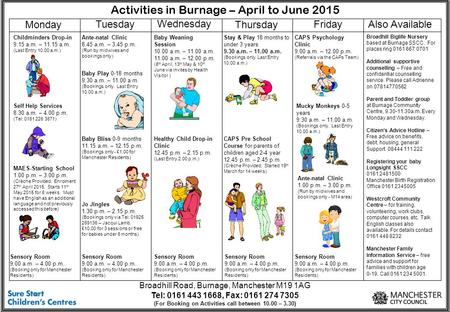 Activities in Burnage – April to June 2015 Monday Tuesday Wednesday Thursday Friday Childminders Drop-in 9.15 a.m. – 11.15 a.m. (Last Entry 10.00 a.m.)