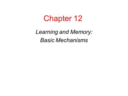 Copyright © 2008 Pearson Allyn & Bacon Inc.1 Chapter 12 Learning and Memory: Basic Mechanisms This multimedia product and its contents are protected under.