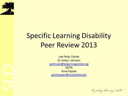 Specific Learning Disability Peer Review 2013 Lee Pesky Center Dr. Evelyn Johnson SESTA Gina Hopper
