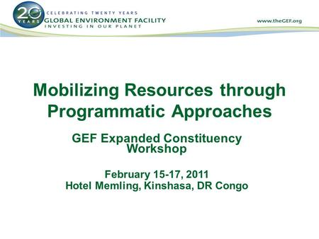 Mobilizing Resources through Programmatic Approaches GEF Expanded Constituency Workshop February 15-17, 2011 Hotel Memling, Kinshasa, DR Congo.