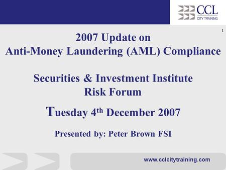 1 securities investment institute compliance forum for Anti money laundering compliance program template