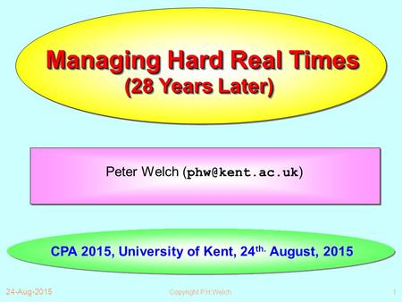 24-Aug-2015 Copyright P.H.Welch1 Managing Hard Real Times Peter Welch ( ) CPA 2015, University of Kent, 24 th. August, 2015 (28 Years Later)