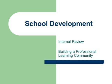 School Development Internal Review Building a Professional Learning Community.