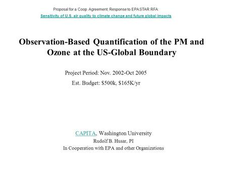 Observation-Based Quantification of the PM and Ozone at the US-Global Boundary CAPITACAPITA, Washington University Rudolf B. Husar, PI In Cooperation with.