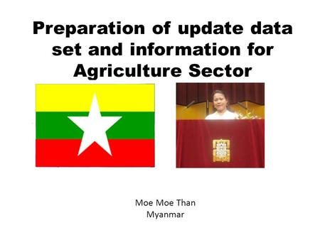 Preparation of update data set and information for Agriculture Sector Moe Moe Than Myanmar.