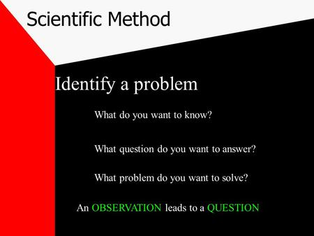Scientific Method Identify a problem What do you want to know? What question do you want to answer? What problem do you want to solve? An OBSERVATION.