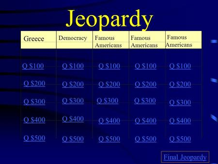Jeopardy Greece DemocracyFamous Americans Q $100 Q $200 Q $300 Q $400 Q $500 Q $100 Q $200 Q $300 Q $400 Q $500 Final Jeopardy.