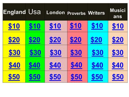 $10 $20 $30 $40 $10 $20 $30 $40 $30 $20 $10 England London Proverbs Writers Usa Musici ans $40 $30 $20 $10 $50.