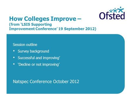 How Colleges Improve – (from 'LSIS Supporting Improvement Conference' 19 September 2012) Session outline Survey background Successful and improving' 'Decline.