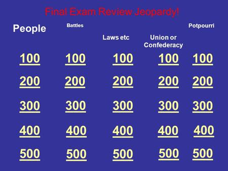 100 200 300 400 500 People Final Exam Review Jeopardy! Battles 100 200 300 400 500 100 200 300 400 500 Laws etcUnion or Confederacy Potpourri.