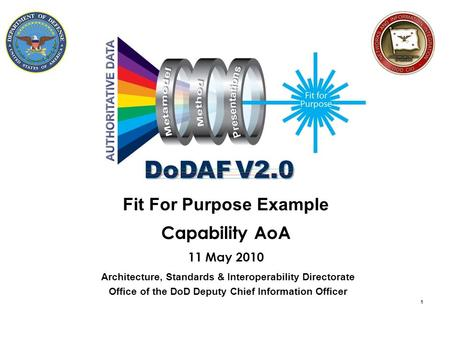 1 Fit For Purpose Example Capability AoA 11 May 2010 Architecture, Standards & Interoperability Directorate Office of the DoD Deputy Chief Information.