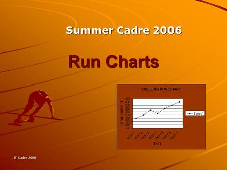 IT Cadre 2006 Run Charts Summer Cadre 2006. IT Cadre 2006 What is a Run Chart? A Run Chart is a way to have students or teachers graph progress over time.