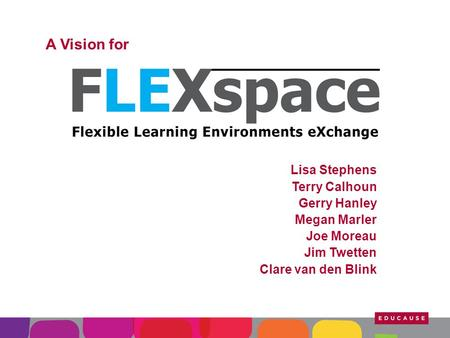 A Vision for Lisa Stephens Terry Calhoun Gerry Hanley Megan Marler Joe Moreau Jim Twetten Clare van den Blink.