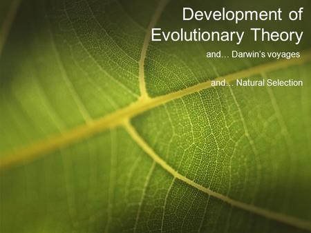 Development of Evolutionary Theory and… Darwin's voyages and… Natural Selection.