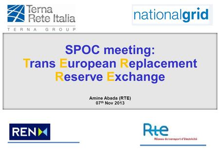 SPOC meeting: Trans European Replacement Reserve Exchange Amine Abada (RTE) 07 th Nov 2013.