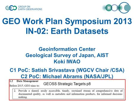 GEO Work Plan Symposium 2013 IN-02: Earth Datasets Geoinformation Center Geological Survey of Japan, AIST Koki IWAO C1 PoC: Satish Srivastava (WGCV Chair.