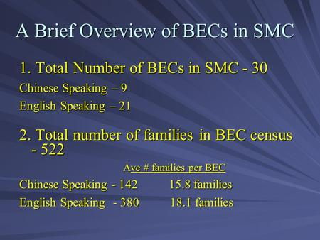 A Brief Overview of BECs in SMC 1. Total Number of BECs in SMC - 30 Chinese Speaking – 9 English Speaking – 21 2. Total number of families in BEC census.
