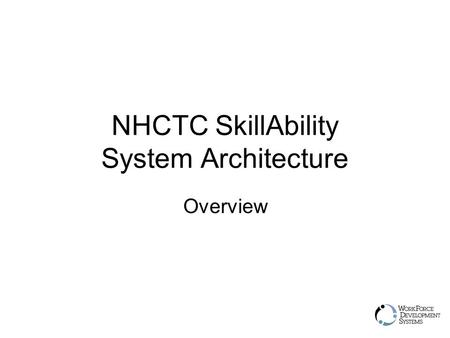 NHCTC SkillAbility System Architecture Overview. User Hierarchy Admin / Super User  Creates Look and Feel, Domains, Skill.