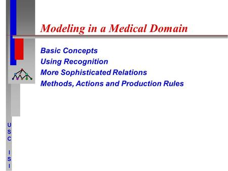 USCISIUSCISI Modeling in a Medical Domain Basic Concepts Using Recognition More Sophisticated Relations Methods, Actions and Production Rules.