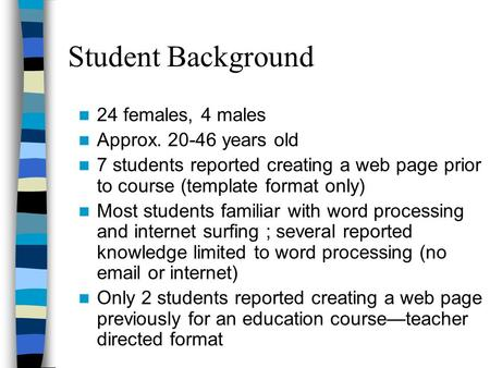 Student Background 24 females, 4 males Approx. 20-46 years old 7 students reported creating a web page prior to course (template format only) Most students.