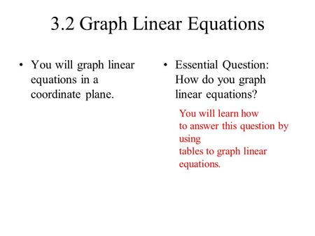 3.2 Graph Linear Equations You will graph linear equations in a coordinate plane. Essential Question: How do you graph linear equations? You will learn.